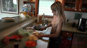 Hime makes you dinner topless, and fucks you later.